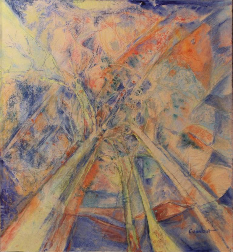 Pascale Courbot, Le ciel à travers les branches, 79 x 82 cm, exposition galerie lehalle